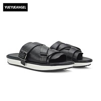 2017 New Fashion Men Sandals Slip On Genuine Leather Cow Casual Shoes Male Black Flip Flop Flat Buckle Slippers Large Size 44 45