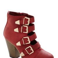 Edge of Eminence Bootie in Scarlet | Mod Retro Vintage Boots | ModCloth.com