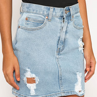 Beat Chevy Denim Skirt - Stone Blue