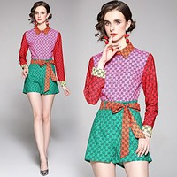 GG womens fashion all-match printed shirt shorts suit two-piece