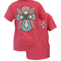 Southern Couture Flower Cross Chevron Christian Coral Girlie Bright T Shirt