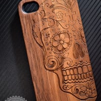 Sugar Skull Wooden iPhone 4/4s iPhone 5/5s case walnut bamaboo wood iphone case
