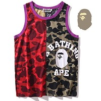 Bape ape camouflage multicolor stitching vest red green camouflage
