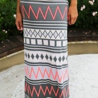 Gray and Neon Pink Chevron Maxi Skirt