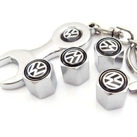 Volkswagen Tire Valve Caps with Wrench Keychain