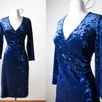 Vintage Crushed Velvet Dress | Wrap Dress 90s Dress Soft Grunge Dress Bandage Dress Alternative Goth Dress 90s Prom Dress Bodycon Dress