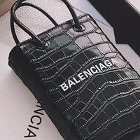 Balenciaga crocodile pattern female mini shopping bag handbag crossbody bag