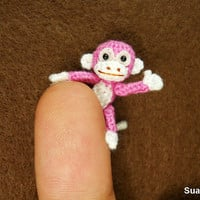 Micro Mini Pink Monkey  1 Inch Miniature Crocheted by SuAmi