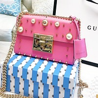 Gucci padlock retro pearl stud bag shoulder bag pink