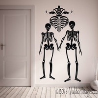 Skeleton couple wall decal, skeleton wall decal, living room wall decal, gothic wall decal, bedroom wall decal, skull decal, skeleton decor