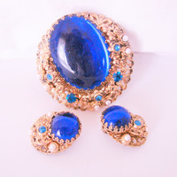 Victorian Revival West Germany Demi Parure Large Blue Glass Cabochon Rhinestone Brooch & Earrings 1950s 1960s Vintage Jewelry