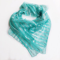 Aquamarine scarf, Gift for Coworker, Gift for wife, Square 40x40, Gift for friend, Boss gift, Aqua Silk Scarf, Mother's Day Gift For Mother