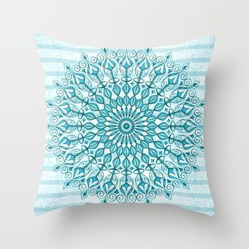 Stripped Mandala Throw Pillow by juliagrifoldesigns