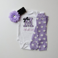 Monogram Onesuit and Leg Warmer Personalized Baby Girl Gift Set Lavender White Polka Dot and Black