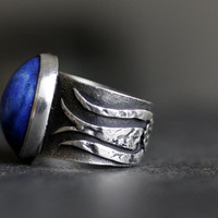 Blue Tulip - Lapis Lazuli  Sterling Silver Ring -Size 10 unisex Ring