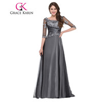Grace Karin Mother of the Bride Dresses For Wedding Half Sleeve Long Appliques Party Vestido De Madrinha Mother Prom Dress 2017
