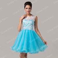 Short Pageant Homecoming Lace Tulle Evening Prom Bridesmaid Wedding Mini Dresses