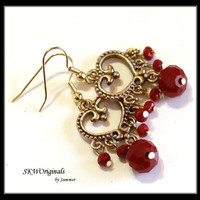 Red Velvet and Gold Heart Fashion Earrings - Boho Bohemian Style Beaded Earrings - Womens Jewelry