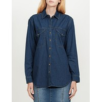 Boyfriend Denim Jean Button Down Shirt with Pockets (CLEARANCE)