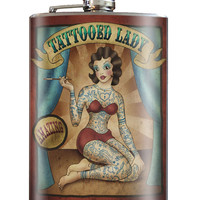 Trixie and Milo Tattooed Lady 8 oz. Stainless Steel Flask