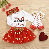 Toddler Girl Valentine Day Baby Long Sleeve Romper+Party Skirt Outfit Clothes