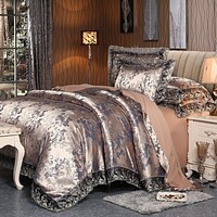 4 Pieces Silver Brown Luxury Satin Cotton Lace Bedding sets Double Queen King size bedding duvet cover bed sheet set Pillowcases