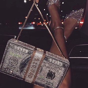 Handmade Crystal Rhinestone 10k Bedazzled Money Stack Clutch Bag