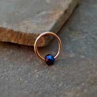 Cartilage Earring Gold with Blue Bead Captive Hoop Tragus Helix Daith Body Jewelry 16ga Surgical Stainless Steel