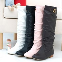 Soft Leather Buckle Knee High Boots Low Heeled Women Shoes 9609