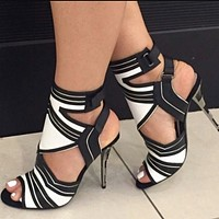 New stiletto fish-beaked black and white striped side-empty sandals