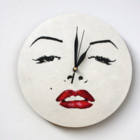 Marilyn Monroe decor, Pop-art Monroe, White WALL CLOCK, white home decor, minimalist  black and white, hand painted wall clock