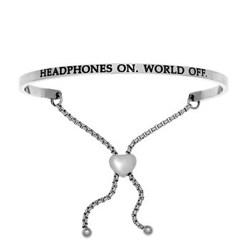 Intuitions Stainless Steel HEADPHONES ON.WORLD OFF. Diamond Accent Adjustable Bracelet