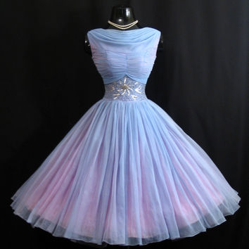 Vintage 1950's 50s Baby Blue Ruched Beaded Rhinestones Chiffon Organza Party Prom Wedding Dress Gown