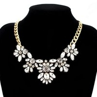 Fit&Wit Golden Tone Rhinestone Crystal Statement Fashion Necklace