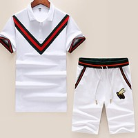 GUCCI Hot Sale Men Women Leisure Stripe Bee Embroidery Lapel Shirt Top Shorts Two-Piece Set