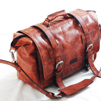 Duffel bag using American Bison, Leather Travel bag,leather sports Bag, gym bag, leather messenger, leather bag, cabin weekend Bag