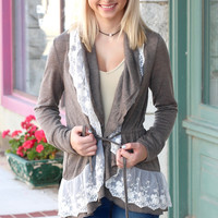Ruffled Lace Collar + Tie Cardigan {Olive Brown}