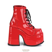 Demonia 203 Camel Stacked Red Patent Platform Goth Punk Ankle Boots 6-12