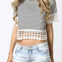 Black and White Striped Short Sleeve Lace Shirt