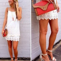 White Dress with Lace Bottom - Lotus Boutique
