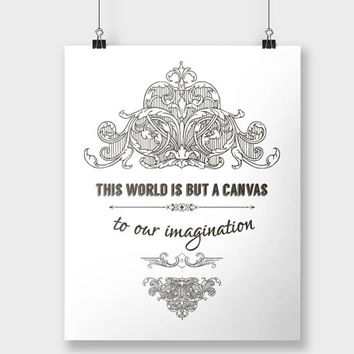 Print Imagination Typography Quote Inspirational Black and White Vintage Scrolls Home Decor Wall Decor Wall Art