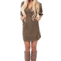 Olive Suede Laced Detail Dress