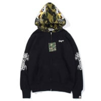 Bape Aape New fashion embroidery letter tiger camouflage couple hooded long sleeve sweater coat Black