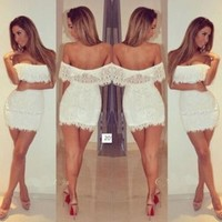 Leshery Women Sexy Off Shoulder Lace Dress Bandage Bodycon Lace Evening Sexy Party Cocktail Mini Dress White (S)
