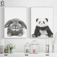 Cute Baby Animal Rabbit Canvas Art Print and Poster, Nursery Woodlands Panda Canvas Painting Nordic Wall Picture Home Decor