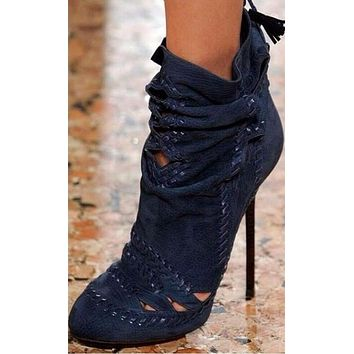 Dark Blue Cut Out Fringed Tassel  Ankle Boots