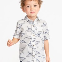 Sea-Creature Print Built-In Flex Shirt for Toddler Boys|old-navy