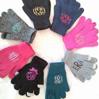 Monogram Gloves, personalized womens, touch gloves