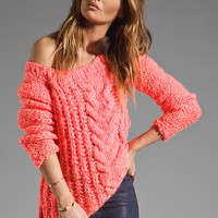 Free People Hot Tottie Pullover in Electric Pink from REVOLVEclothing.com