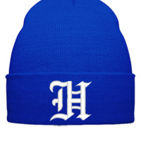 H EMBROIDERY HAT  - Beanie Cuffed Knit Cap